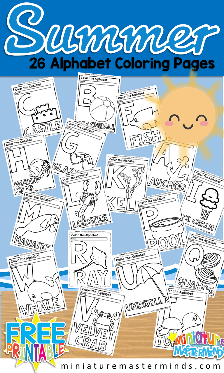 Free Printable Summer 26 Page Alphabet Coloring Book Miniature Masterminds