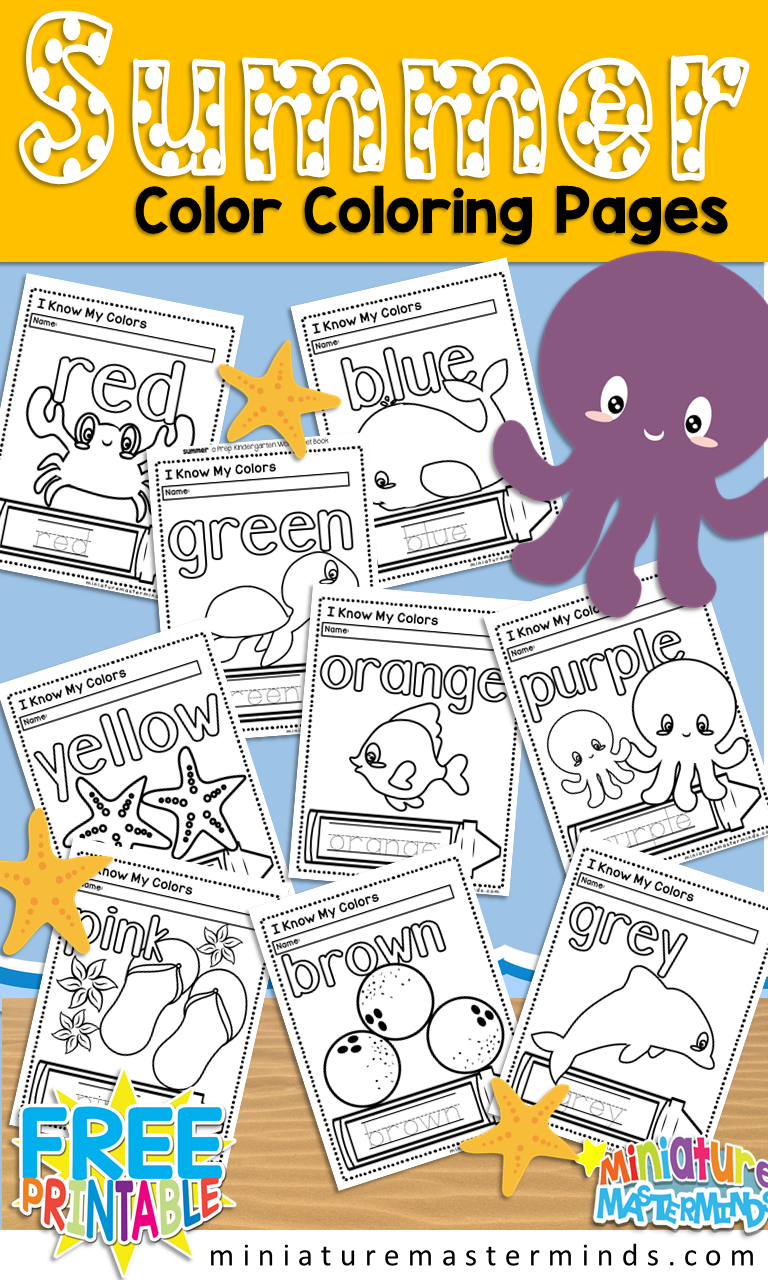 Free Printable Summer Themed Color Coloring Pages Miniature Masterminds