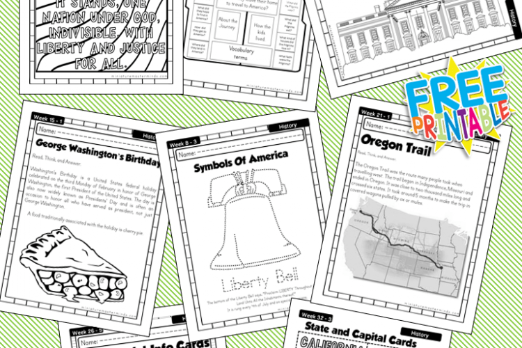 American History Work Book Ages 6 to 8 Free Printable ...
